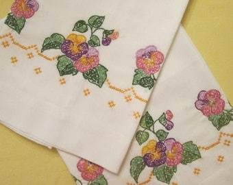Vintage Pillowcases -  Hand Embroidered Pair - Pansies