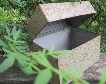 Rusty Metal File Box - Vintage File Box - Olive Green Metal Box