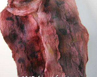Multicoloured Red 2 Textured Nuno Felted Scarf Winter Scarf Eco Fashion  Casual Wear