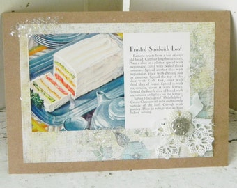 Handmade Vintage Recipe Greeting Card Frosted Sandwich Loaf Homespun Card Antique Button Lace Trim OOAK