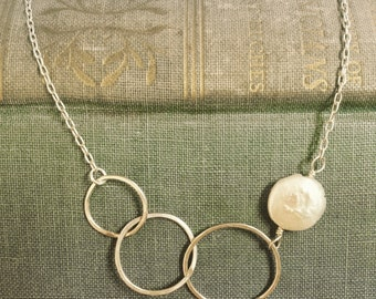 coin pearl necklace with handmade hammered sterling silver hoops, freshwater pearl