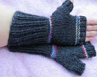 Small, dark gray, grey, accent burgandy, yellow, light blue, typing, texting, fingerless, gloves