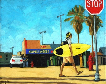 Summer Surfing young man going to the beach colorful print from my painting