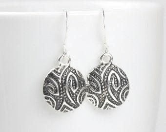 Silver Paisley Design Drop Earrings, Silver Earrings, Silver Dangle Earrings, #912