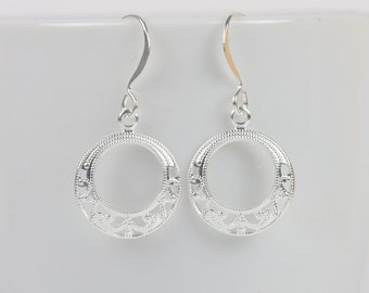 Silver Filigree Drop Earrings, Silver Earrings, Silver Dangle Earrings [#914]