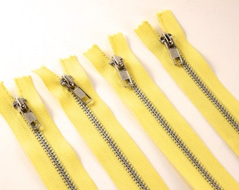 "4 Yellow Zippers - 18"" - zipper flowers, sewing, crafts, scrapbooking, altered art"