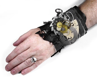 Steampunk Textile Cuff APOCALYPTIC Black Leather MeSH SAW TOOTH Clock Coils GEaR Key Watch Part PuNK Cuff - Steampunk Clothing by edmdesigns
