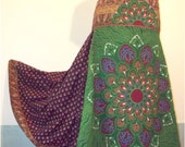 African Wax Print and Cotton Print Gathered Tiers Maxi Skirt Hippie Bohemian