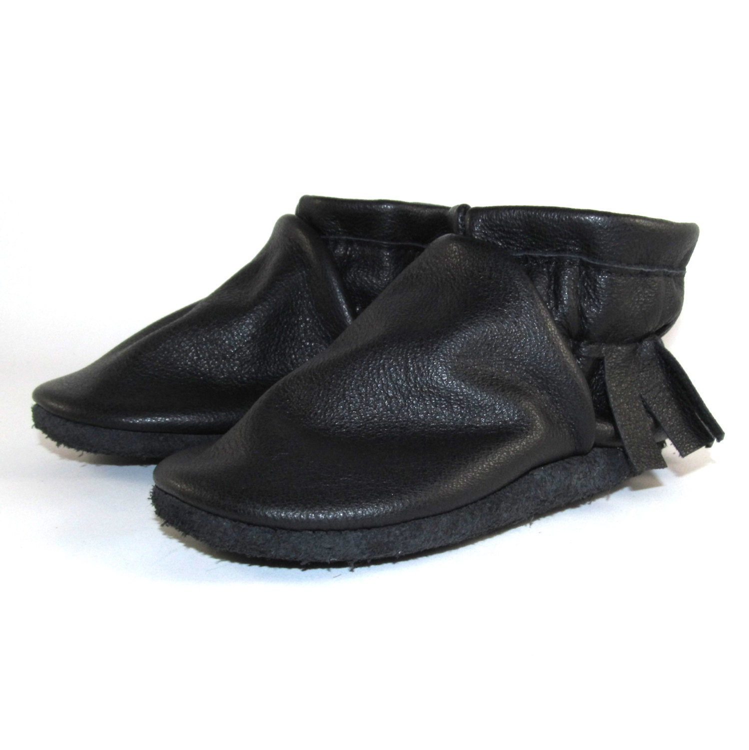 soft sole black leather baby shoes moccasins 6 to 12 month