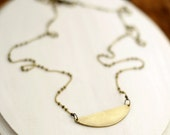 Long Geometric Necklace, Brass Crescent  Layering Necklace