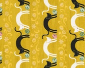 Quilt Gate Hyakka Ryoran NEKO cats in green tea cotton fabric HR3110-12C