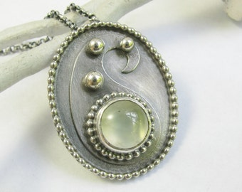 Prehnite Necklace, Paisley Necklace, Argentium Sterling Silver Necklace, Pendant Necklace, Artisan Jewelry, Metalsmith Gemstone Necklace,