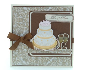 Brown and Gold Wedding Card, Mr. and Mrs. Three Dimensional Wedding Cake and Glasses, 5x5
