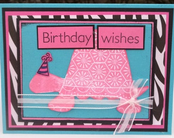 Pink Turtle Birthday Card, Birthday Wishes, Turquoise and Zebra Pattern, Women's Birthday Card
