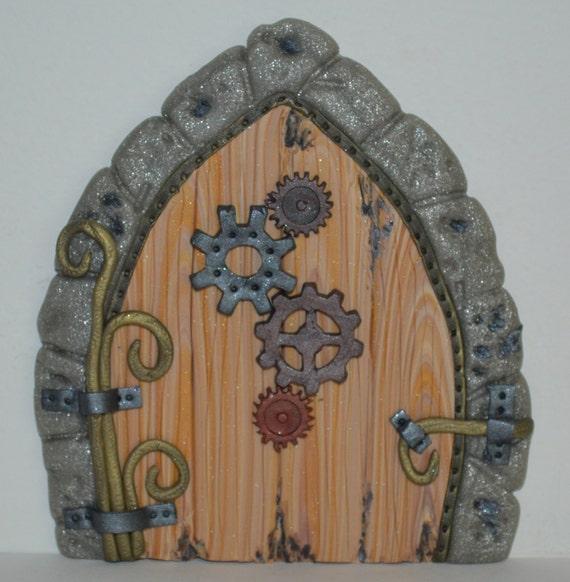 Steampunk gears miniature fairy door fairy garden by for Works elf door