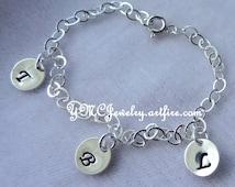 Personalized Family  Bracelet, Initial Disc Bracelet, Mother's Gift Bracelet,  Hand Stamp Bracelet, Grandma's Charm Bracelet, Mom's Bracelet