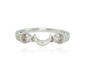 Moon Ring - Sun, Moon, and Stars Diamond Wedding Band in 14k White Gold - Celeste Collection - LS1886