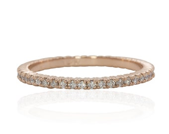 Full Eternity Prong Set Diamond Wedding Band or Stacking Ring - LS4038