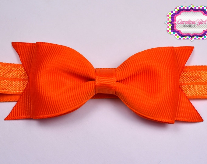 "Orange Tuxedo Bow Headband  ~ 3.5"" Hairbow ~ Small Hair Bow ~ Girls Headband ~ Toddler Bow ~ Baby Hair Bow ~ Hair Clip ~ Girls Hair Bow"