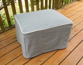 Heavy Hemp and Linen Ottoman Slipcovers with Piping, Up to 36x24x20, Custom, Cube, Harmony