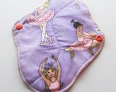 Cloth Pad / Menstrual Cloth / Moon Pad  - Pretty Ballerina Printed 8 Inch FREE Shipping