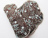 Set of 2 Cloth Mama Pad Pantyliner 8 inch - Brown with Teal Flowers Print FREE Shipping