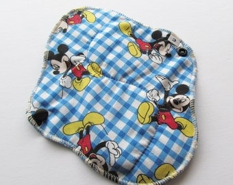 Mama Cloth Menstrual Pad / Cloth Pad  .. Perfect for Postpartum 8 inch  Mickey Mouse Cotton HEAVY FLOW  and FREE Shipping