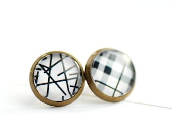 Mismatched Studs, Black and White Studs, 1970s Inspired, Brass Stud Earrings, Black and White, Paper Jewelry, Post Earrings, Graphic Jewelry
