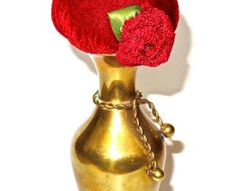 Pincushion Red Velvet in Vintage Brass Lavender Scented by Practical Elegance