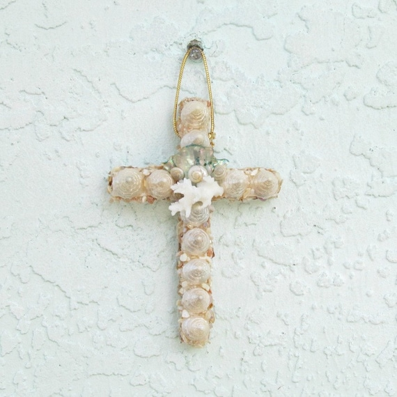 Baptism Ornament Cross Ornament Girl Baptism By: Seashell Cross Ornament Wall Hanging Pearl And Aqua Abalone