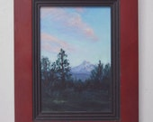 Original Oil Painting -- AFTERNOON SKY -- miniature framed landscape, by Diana Moses Botkin