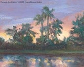 Original 4x6 inch oil painting --GLOW THROUGH the PALMS -- tropical plein air landscape by Diana Moses Botkin