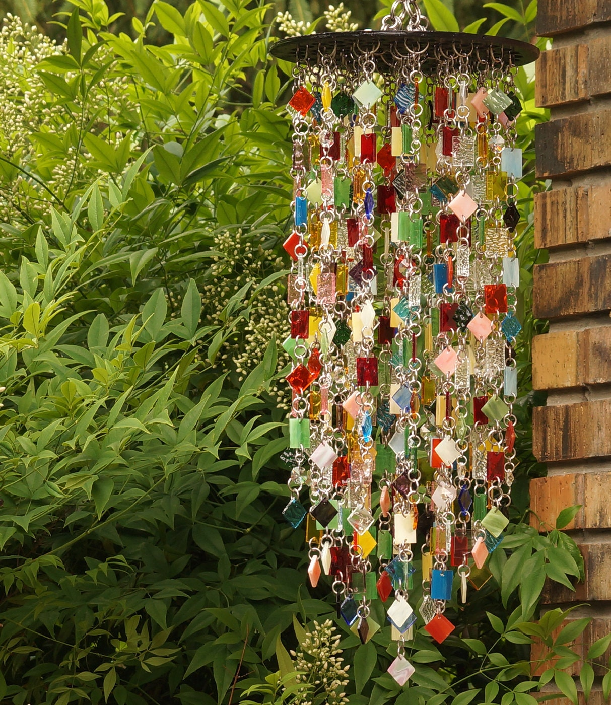 stained glass colored glass unique wind chimes by anhoki. Black Bedroom Furniture Sets. Home Design Ideas