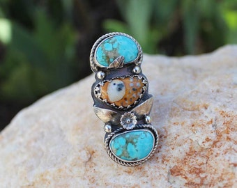 Fawn Jasper and Rustic Turquoise Stones Bezeled in Sterling Silver Ring Size 6.25 statement ring, gypsy, cowgirl, boho