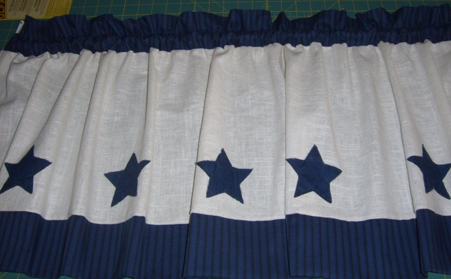 Country Curtain Valance White Linen Navy Trim By Nancyslinens