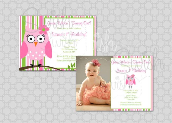 Owl Birthday Invitation - Photo Owl Birthday Look Whoo's One