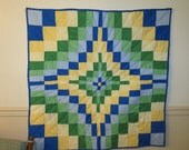 Handquilted Quilt, Handmade Quilt,  Lap Quilt, Blue, Green, Yellow, wall hanging