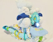 Diaper Cake Motorcycle with Working Headlight and Plush Stuffed Hippo