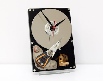 recycled geek gift, nerd Christmas gift, repurposed computer parts clock, recycled computer gift, Recycled Computer Hard Drive Clock, modern