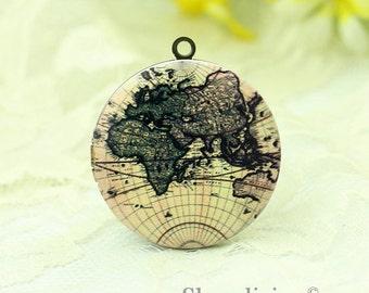 1pcs Vintage Map Locket Necklace - Antique Bronze Brass Photo Locket Pendant - World globe Map Round Locket Charm - HLK134H