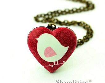 1pcs Bird Heart Locket Necklace, Antique Bronze Brass Locket, Photo Heart Locket Charm Pendant  - HLK908A