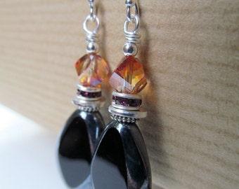 Golden Orange and Black Czech Glass Beaded Sterling Silver Earrings