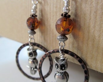 Owls - Czech Glass and Hoops Antique Brass Sterling Silver Earrings