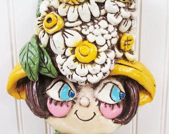 Vintage Hippie Lady Wall Hanging Art Frame Plaque Big Eyes Woman Flower Power