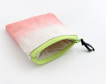 Dip dyed coral coin purse.