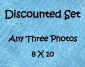 Discounted photo set, Set of 3 prints, 8x10 photo set, 8x10 print set, 3 photo set, custom photo set, sale photo set, discounted art