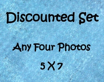 Discounted photo set, Set of 4 prints,  5x7 photo set, 5x7 print set, 4 photo set, custom photo set, sale photo set, discounted art