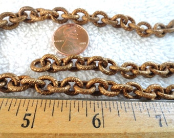 6 Feet of Vintage Brass Chain, Textured Design, 7mm x 10mm