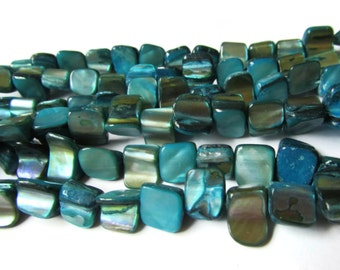 8mm Turquoise Blue Beads Dyed Shell Beads Seashell Beads Rectangle beads 16 Inch Bead Strand Jewelry Making Beading Supplies Sea Shell Beads