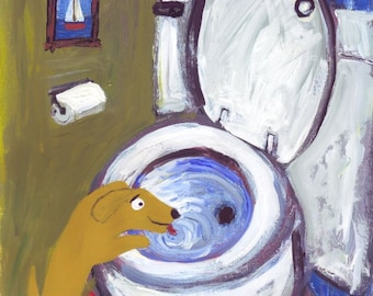 Dog Art Print - Yellow Lab or Golden Retriever Drinks Out of Toilet - Whimsical Funny Humorous Bathroom Decor Folk Art